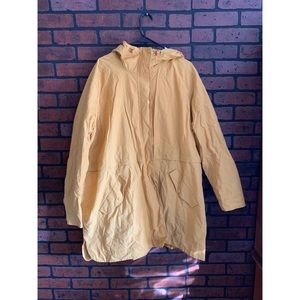Golden yellow water resistant hooded anorak